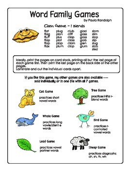 Word Families - Clam Game