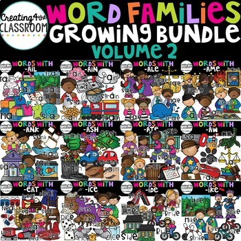 Word Families Clipart Growing Bundle 2 {Word Family Clip Art}