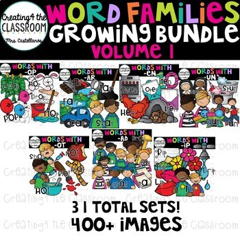 Word Families Clip art Growing Bundle 1 {Word Family Clip Art}