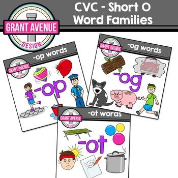 Word Families Clipart Bundle - Short O CVC Words