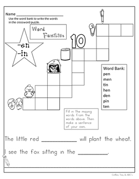 Word Families Crossword Puzzles