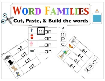Word Families Cut & Paste Pack