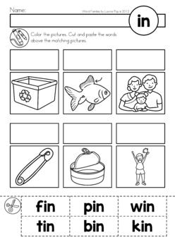 CVC Word Families No Prep Cut & Paste Worksheets by Lavinia Pop | TpT