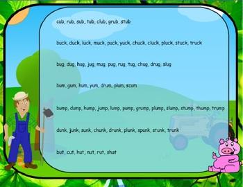 Word Families Down on the Farm Long & Short u  (SMARTBoard Lessons)