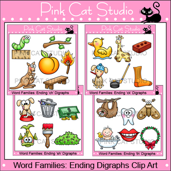 Ending Digraphs Clip Art - Word Families