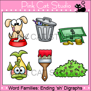 Word Families: Ending -sh Digraphs Clip Art - Personal or Commercial Use