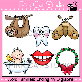 Word Families: Ending -th Digraphs Clip Art - Personal or