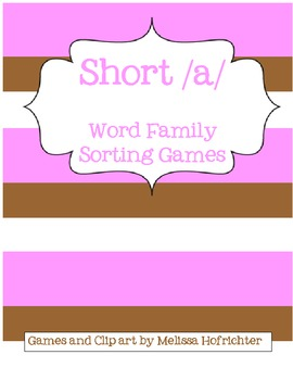 Word Families File Folder Games (short /a/)