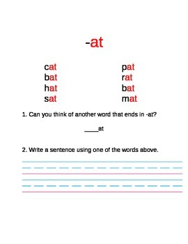 Word Families First Grade