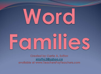 Word Families Flash PowerPoint Slideshow SMARTBoard