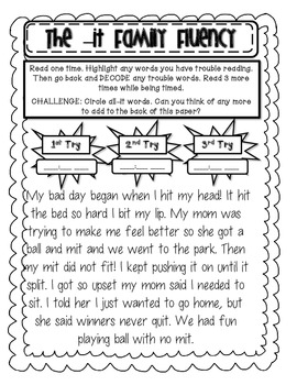 Word Families Fluency Centers