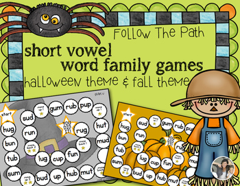 Word Families {Halloween & Fall Follow the Path Short Vowels}