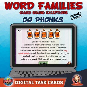 Word Families Glued Sound Exceptions Phonics Review Digital Task Cards