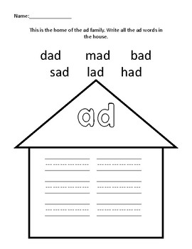Word Family Houses 59 pages