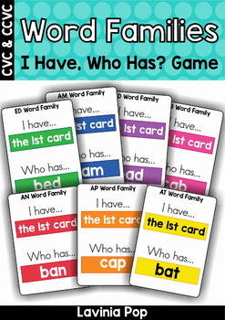 I Have Who Has Word Family Card Game