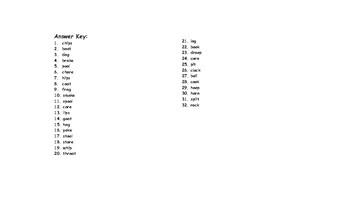 Word Families IP-IT-OAT-OCK-OG-OIL-OKE-OOK-OOL-OOP-ORE-ORN Checkerboard Game