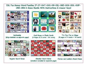 Word Families IP-IT-OAT-OCK-OG-OIL-OKE-OOK-OOL-OOP-ORE-ORN  Six Game Bundle