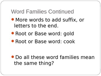 Word Families Introductory PowerPoint