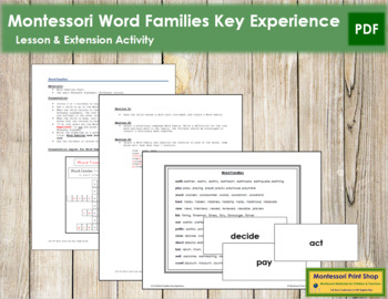 Word Families Key Experience & Materials - Elementary