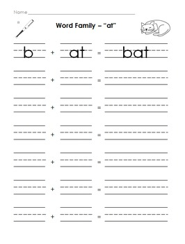 Word Families Letter Tiles and Worksheet (-at, -an, -in, -op, -all, -ad)