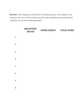 Word Families Literacy Box Worksheet