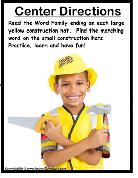 Word Families Literacy Center Activity {Kindergarten/Special Education/Autism}