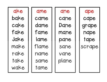 Word Families - Long Vowel Fluency