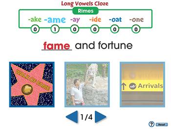 Word Families Long Vowels: Long Vowels Cloze - PC Gr. PK-2