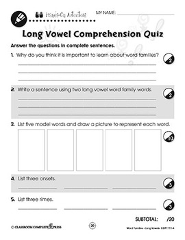Word Families - Long Vowels: Sentence Completion Gr. K-1