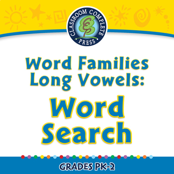 Word Families Long Vowels: Word Search - NOTEBOOK Gr. PK-2
