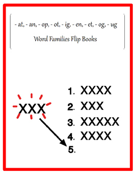 Word Families Manipulative Spelling Booklets