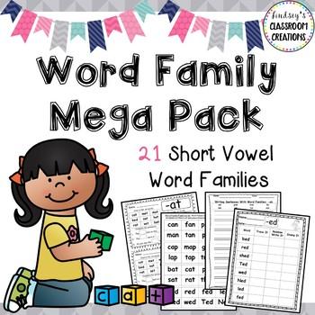 Word Family MEGA Bundle Printable Activities - 21 Word Fam