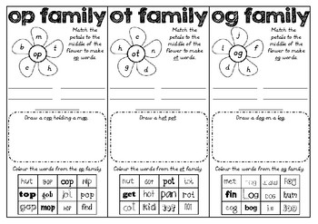 Word Families OP OT OG