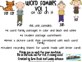 Word Families Pack Vol. 1 (at, op, an, & it)