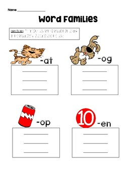 Word Families Page