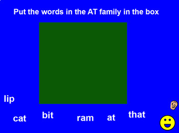 Word Families Paractice with Words Vocalized Promethean Activinspire Activity