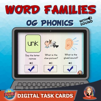 Word Families Phonics Review Digital Task Cards
