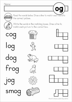 Word Families Read Match Write Word Work
