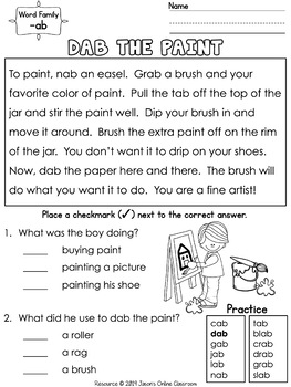 Word Families Reading, Activities {180 Reading Passages, 360 Questions} Unit