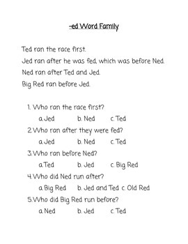 Word Families Reading Comprehension