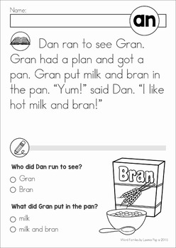 Word Family Reading Comprehension Passages