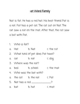 Word Families Reading Comprehension Practice