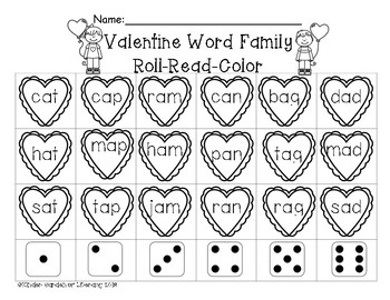 Word Families-Roll-Read-Color