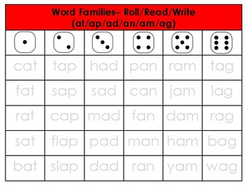 Word Families Roll, Read & Write