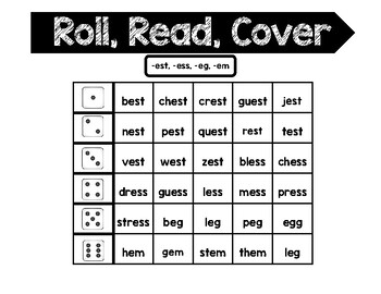 Word Families Roll, Read, and Cover