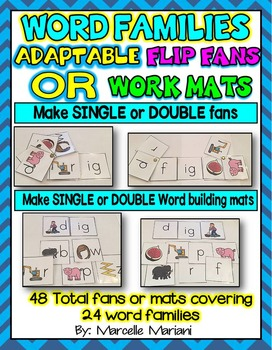 Word Families SINGLE & DOUBLE ADAPTABLE FLIP FANS or Mats (24 Word Families)