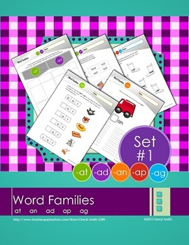 Word Families: Set #1  -at/-an/-ad/-ap/-ag