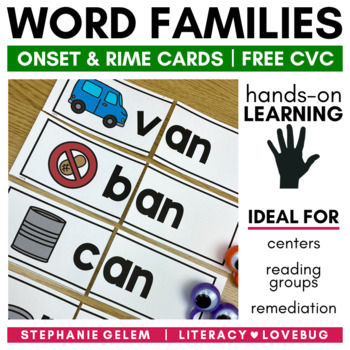 Word Families: Short A CVC Onset and Rime Cards