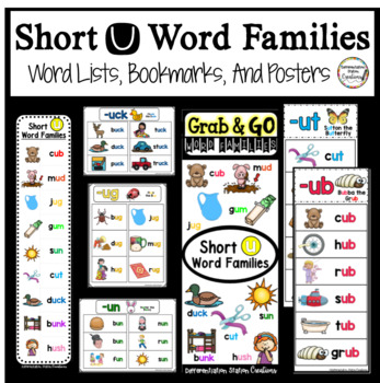 Word Families Short U: Bookmarks, Word Lists, Posters