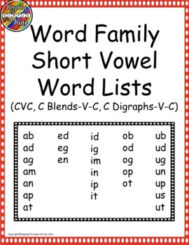 Word Families - Short Vowel Word Lists